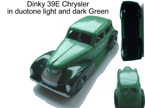 A DINKY TOYS COPY MODEL 39E CHRYSLER DUOTONE LIGHT AND DARK GREEN